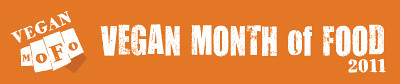 "Orange rectangular banner that says ""Vegan MoFo"" and ""Vegan Month of Food 2011."""