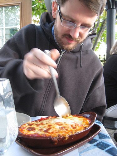 Craig with lasagna