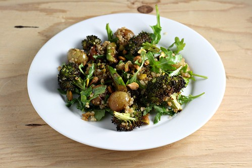 Roasted Broccoli, Grape, and Asparagus Quinoa Salad