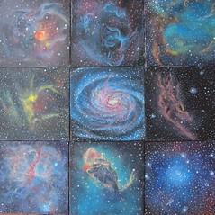 Eight Nebulae and a Galaxy (alizeykhan) Tags: stars star space paintings nasa galaxy nebula galaxies universe hubble pointillism spaceart nebulae sspace spacetuna