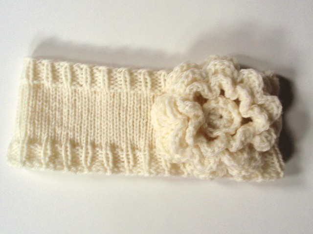 Knitted Headband with Crocheted Flower