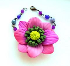 Sasha bracelet (FIMARC) Tags: pink flowers jewellery polymerclay fimo bracelet gradient sculpey cernit semiprecious neclace fimarc