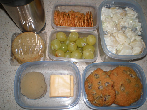 Lunch Nibbles; Easy Potato Salad; grapes; Back-To-School Chocolate Chip Cookies; Soy milk