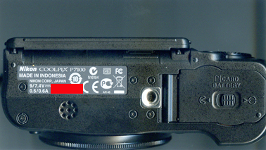 Nikon P7100 -- Location of serial number