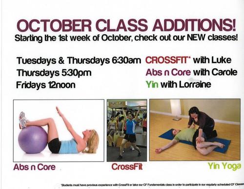 111005 - October Class Schedule