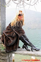 Fur coat, Leather gloves and Crotch Boots (Fashion Unlimited) Tags: leather lady fur 60s long boots coat crotch gloves patent