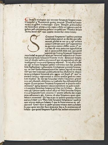 Manuscript initial in Paulus de Sancta Maria: Scrutinium scripturarum
