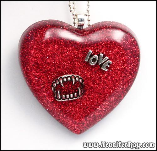 Vampire Love Bite - Red Glitter Resin Heart Necklace by JenniferRay.com
