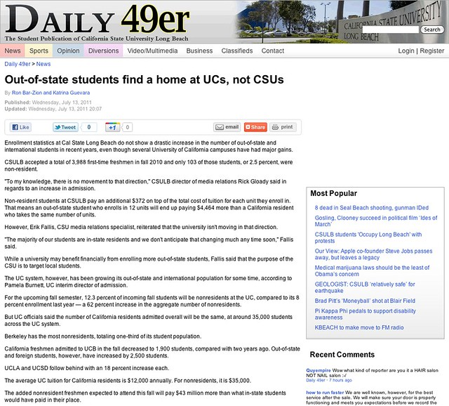 Out-of-state students find a home at UCs, not CSUs - News - Daily 49er - California State University Long Beach
