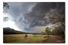 Storms - 15/10/2011 (Matthew Stewart | Photographer) Tags: trees sky cloud storm tree water hail clouds air australia formation qld queensland dirtroad form storms lakemoogerah 16102011