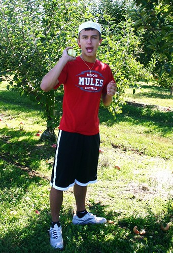Andrew throwing apples at me