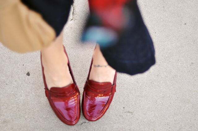 patent leather red loafers