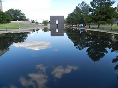 Oklahoma City National Memorial (TheJudge310) Tags: trees reflection oklahoma water clouds memorial peaceful reflect oklahomacity nationalmemorial oklahomacitynationalmemorial oklahomacityoklahoma
