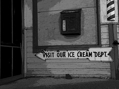 Visit our Ice Cream Dept. (Cindy's Here) Tags: bw canada sign photoshop canon manitoba icecream arrow oldfashioned adjective portagelaprairie ourdailychallenge