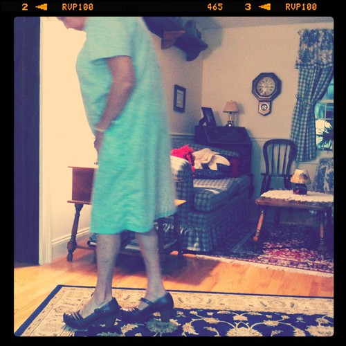 Gram trying on my wooden clog heels.