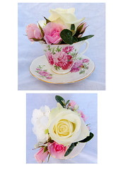 Vintage Tea Cup (Vicky Spence) Tags: flowers wedding rose vintage ivy hydrangea teacup weddingflowers whiterose astilbe senecio centrepiece