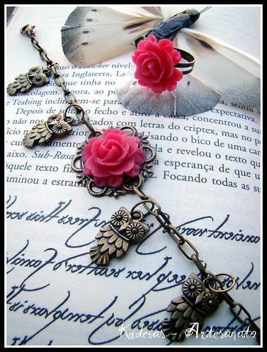 Pulseira Mochos ♥ Rosa by kideias - Artesanato