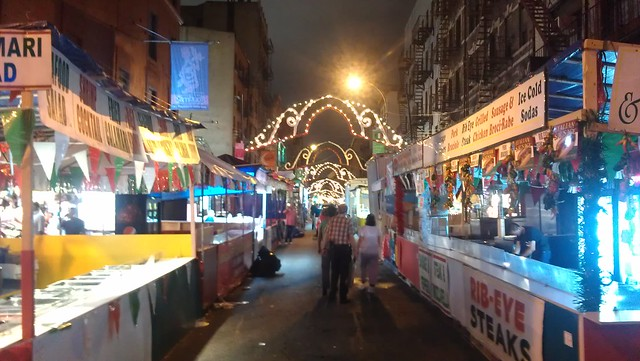 Mulberry Street lit up for the Feast of San Genarro