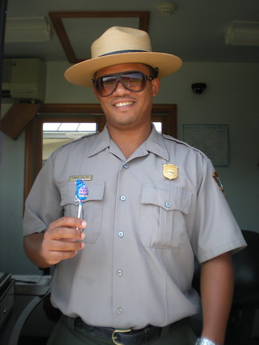 Darius the Park Ranger with blue lollipop