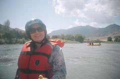 My mom (Ikayama) Tags: white film water analog 35mm lomography montana kodakportra400vc lomolca rafting raft lifevest automat kompakt lomokrab