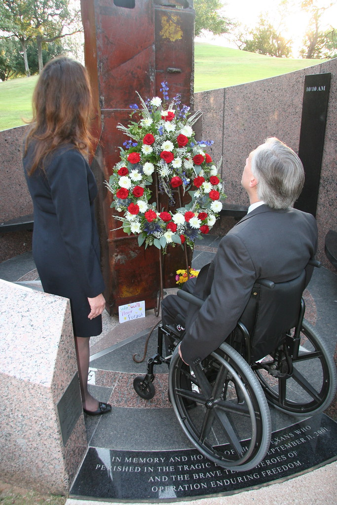 Attorney General Abbott and wife, Cecilia, honor victims of the Sept. 11, 2001, attacks and military forces with visit to the Texas 9-11 Monument, which opened at the Texas State Cemetery in 2003