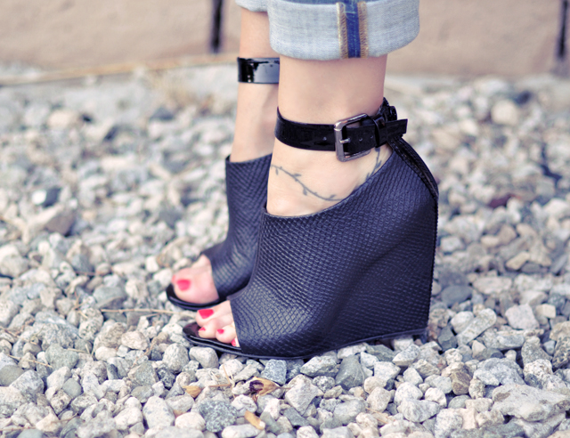 wedges with ankle straps   -- black wedge shoes
