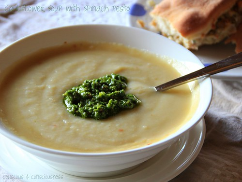 Cauliflower Soup with Spinach Pesto