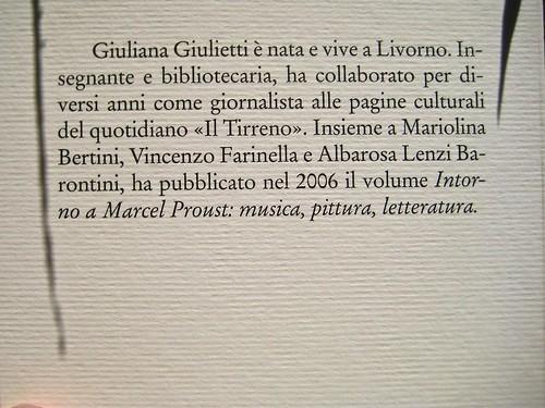 Giuliana Giulietti, Proust e Monet; Donzelli 2011. [resp. grafica non indicata], alla cop.: Claude Monet, Ninfee, effetto sera (part.), 1897, Musée Marmottan. Risvolto della q. di copertina (part.), 1