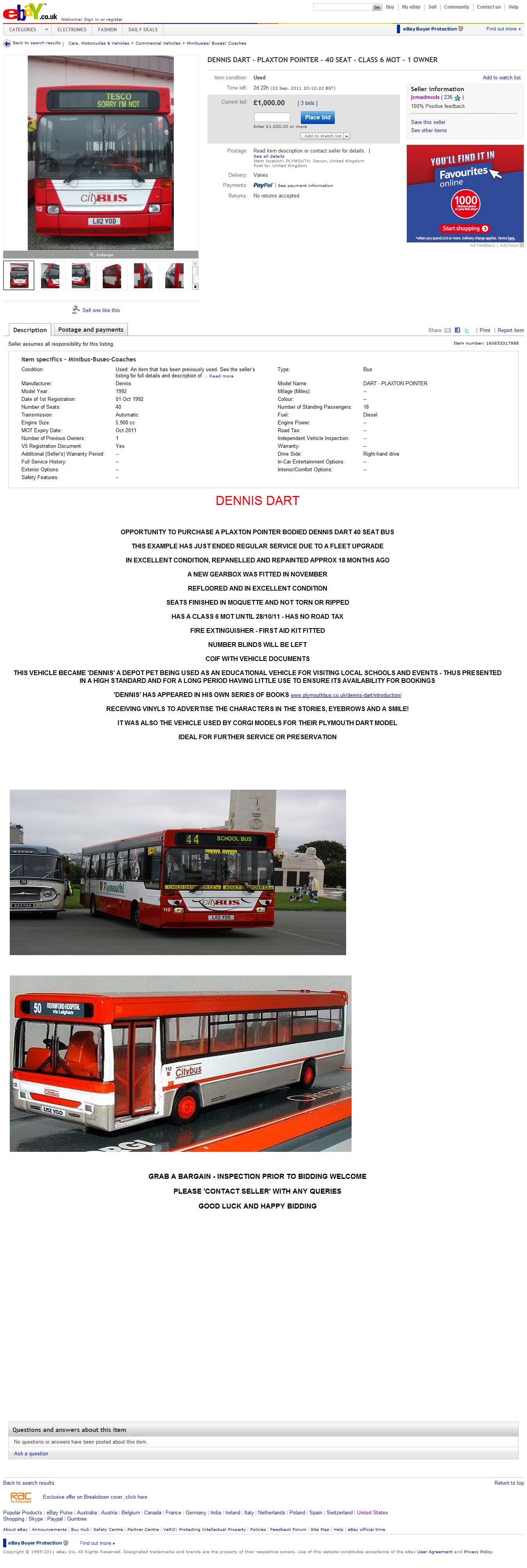 DENNIS DART   PLAXTON POINTER   40 SEAT   CLASS 6 MOT   1 OWNER   eBay