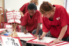 Kaiser RNs Michelle Anders (left) and Dee Powers prepare for strike