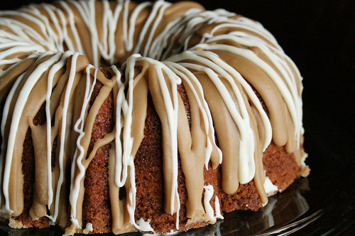 Apple Cake with Caramel Penuche Icing, with a Vanilla Drizzle.
