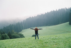 i feel like wow (milujem slovensku prirodu) (Barb0rka) Tags: wood green film nature girl grass fog forest 35mm wow joy orava slovakia analogue