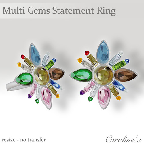 Caroline's Jewelry Multi Gems Statement Ring Silver