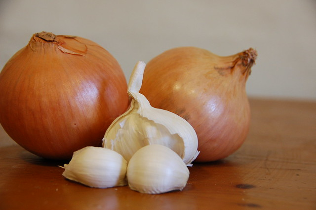 onions and garlic waiting to be chopped