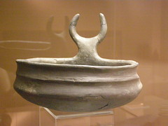 Vessel with bull horns on a handle, late Iron Age, early La Tene period, c 400 BC (DeBeer) Tags: museum handle horns vessel bull archeology bratislava archeological ironage bullhorns archeologicalmuseum 400bc stupava latene lateironage cultobject protome cultvessel bullornament animalornament 1stmilleniumbc archeologickémúzeum bullinart lateneperiod earlylatene earlylateneperiod