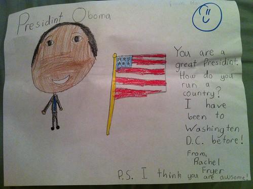 Rachel's letter to President Obama
