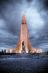 hallgrim's church reykjavik (mariusz kluzniak) Tags: city light building church architecture clouds dark evening iceland interesting europe cathedral sony capital reykjavik tall alpha scandinavia 580 holograms hallgrim a580