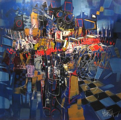 City Match - Painting - Cubism
