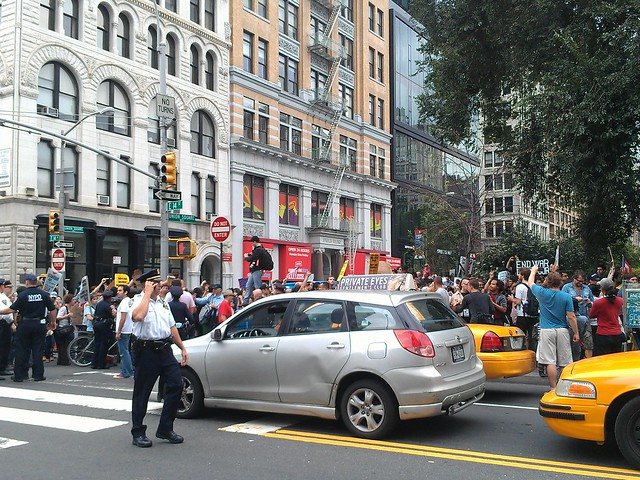 Ran in to the Occupy Wall Street protest march near Union Sq - trying to find wifi to upload vid eo