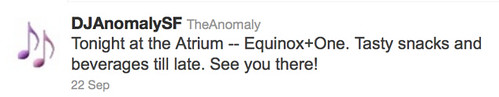 Tonight at the Atrium -- Equinox+One