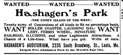 1904 Hashagan's 20 Acre park from Billboard 27 Feb (carlylehold) Tags: 1904 hashagans 20 acre park grand ave meramec st louis mo stories s south priesters saint dutchtown gertrudes al smiths feasting fox augustus buschs motordrome balloon race zythum carlylehold keeper street robert contact haefner history happens here missouri robertchaefner happened c bob