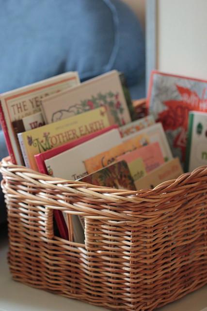 autumn & nature themed books basket