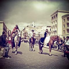 Out of time (Gioson) Tags: bridge horses film digital out time main folklore e lubitel sicily cavalli siracusa ortigia siciliano cavalieri 166b entrano