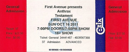 10/16/11 Anthrax/Testament/Death Angel @ First Avenue, Minneapolis, MN (Ticket)