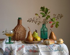 Brisk Wind Of September. (Esther Spektor - Thanks for 10+ millions views..) Tags: blue autumn light red stilllife food brown white reflection green art apple water glass leaves yellow fruit bread table golden bottle berry branch pattern basket wine artistic embroidery creative plate september explore ornament pear vase roll bouquet tablecloth 1001nights wicker bodegon naturemorte goblet artisticphotos naturezamorta coth bej