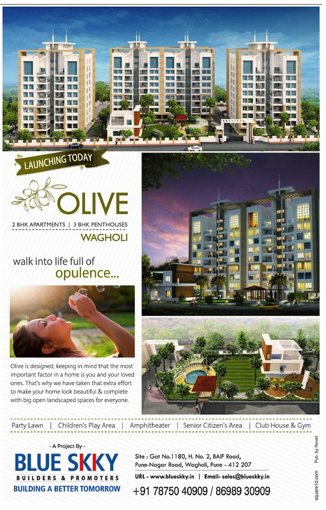 Blue Skky Builders & Promoters' Olive 2 BHK Flats & 3 BHK Penthouses on BAIF Road Wagholi Pune 412 207