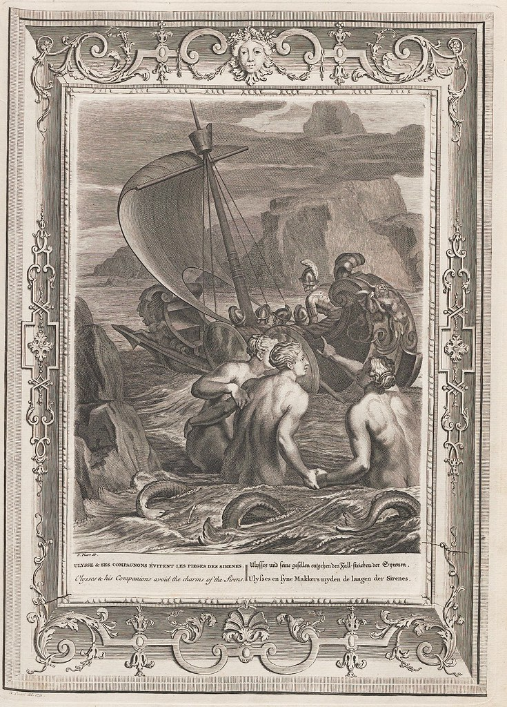 engraving of mythical Ulysses in a ship passes the sirens calling from the shallows