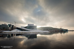Oslo Opera House (The Autodidact Photographer) Tags: morning sky sun house sol oslo norway architecture clouds norge opera himmel morgen hus arkitektur sunflare 2011 operaen snhetta motlys bjrvika dennorskeopera oslooperahouseoperahus