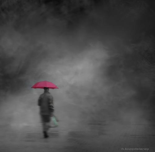 Green Bag + Pink Umbrella by h.koppdelaney, on Flickr