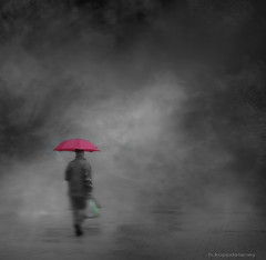 Green Bag + Pink Umbrella (h.koppdelaney) Tags: traveller umbrella red rain mist vision dream strange surreal world man symbol life archetype psyche psychology philosophy metaphor art digital photoshop symbolism picture koppdelaney idream
